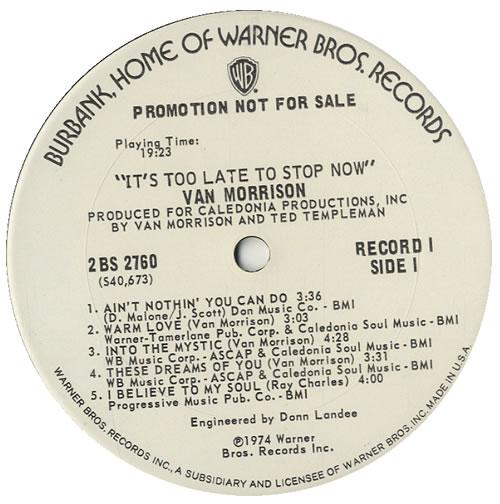 Van Morrison It S Too Late To Stop Now Us Promo 2 Lp Vinyl Record Set Double Album 550352