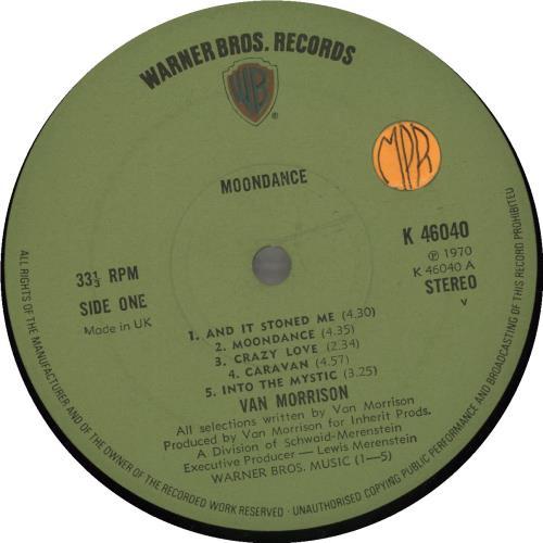 Van Morrison Moondance - Green Label vinyl LP album (LP record) UK VMOLPMO543423