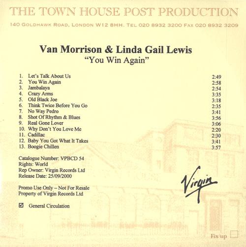 Van Morrison You Win Again CD-R acetate UK VMOCRYO166674
