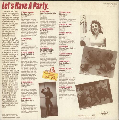 Various-50s/Rock & Roll/Rockabilly Let's Have A Party: The Rockabilly Influence 1950-1960 vinyl LP album (LP record) Dutch 50VLPLE729260