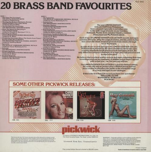Various-Brass Bands 20 Brass Band Favourites vinyl LP album (LP record) UK VB8LPBR762628