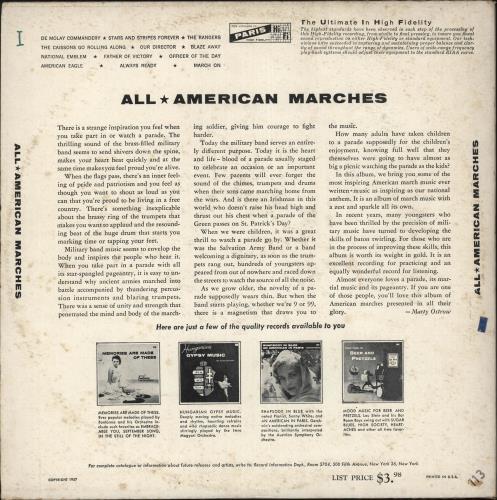 Various-Brass Bands All American Marches vinyl LP album (LP record) US VB8LPAL735925