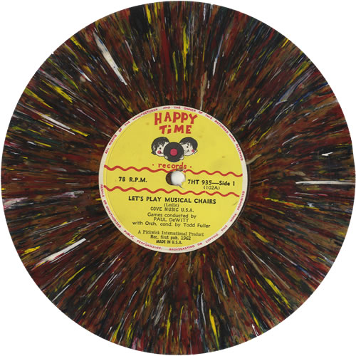 Various-Childrens Let's Play Musical Chairs - Splatter Vinyl 78rpm shellac record US VC078LE511772