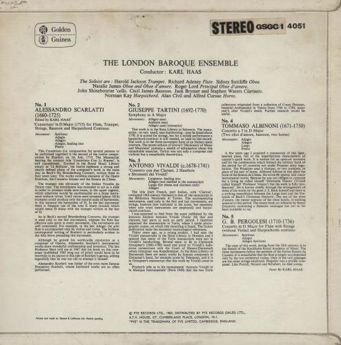 Various-Classical & Orchestral Albinoni / Tartini / Pergolesi / Vivaldi / Scarlatti vinyl LP album (LP record) Dutch VAFLPAL759205
