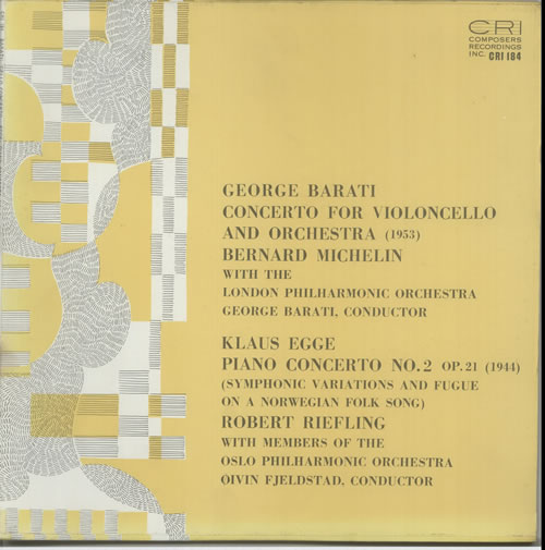 Various-Classical & Orchestral George Barati: Concerto For Violoncello And Orchestra / Klaus Egge: Piano Concerto No. 2 vinyl LP album (LP record) US VAFLPGE632394