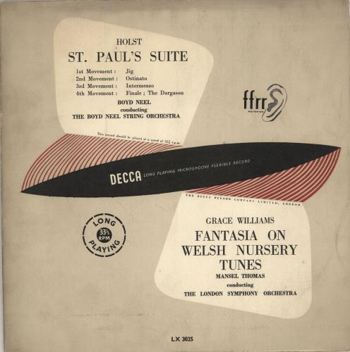 "Various-Classical & Orchestral Holst: St. Paul's Suite / Grace Williams: Fantasia On Welsh Nursery Tunes 10"" vinyl single (10"" record) UK VAF10HO711767"
