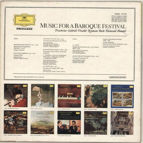 Various-Classical & Orchestral Music For A Baroque Festival vinyl LP album (LP record) UK VAFLPMU713876