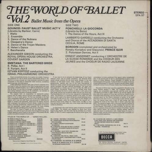 Various-Classical & Orchestral The World Of Ballet Vol. 2 vinyl LP album (LP record) UK VAFLPTH764059