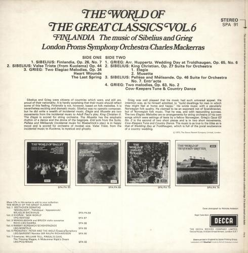 Various-Classical & Orchestral The World Of The Great Classics Vol.6: Finlandia The Music Of Sibelius And Grieg vinyl LP album (LP record) UK VAFLPTH745858
