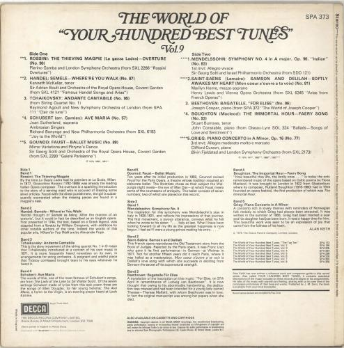 Various-Classical & Orchestral The World Of Your Hundred Best Tunes Vol. 9 vinyl LP album (LP record) UK VAFLPTH702946
