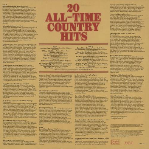 Various-Country 20 All-Time Country Hits vinyl LP album (LP record) UK CVALPAL761293