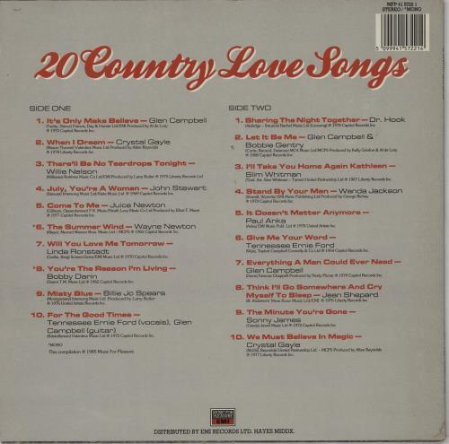 Various-Country 20 Country Love Songs vinyl LP album (LP record) UK CVALPCO764247