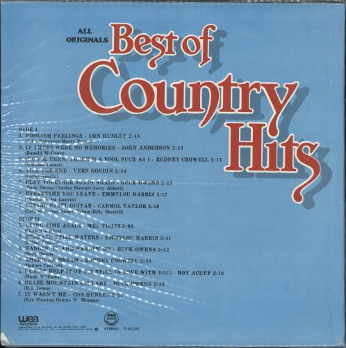 Various-Country Best Of Country Hits vinyl LP album (LP record) Philippino CVALPBE721706
