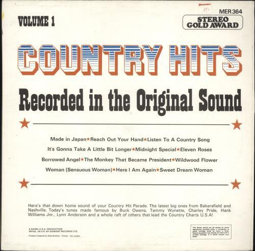 Various-Country Country Hits Volume 1 vinyl LP album (LP record) UK CVALPCO692016