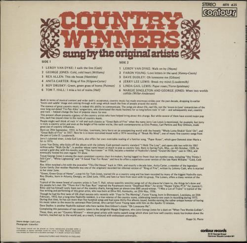 Various-Country Country Winners vinyl LP album (LP record) UK CVALPCO752908