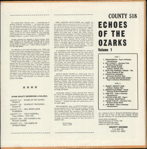 Various-Country Echoes Of The Ozarks Volume I - Sealed vinyl LP album (LP record) US CVALPEC708939