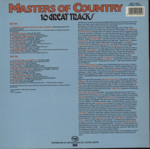Various-Country Masters Of Country vinyl LP album (LP record) UK CVALPMA764249