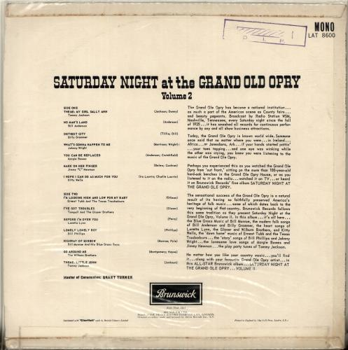 Various-Country Saturday Night At The Grand Ole Opry Vol.2 vinyl LP album (LP record) UK CVALPSA699569
