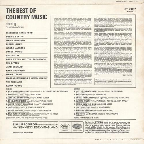 Various-Country The Best Of Country Music vinyl LP album (LP record) UK CVALPTH732303