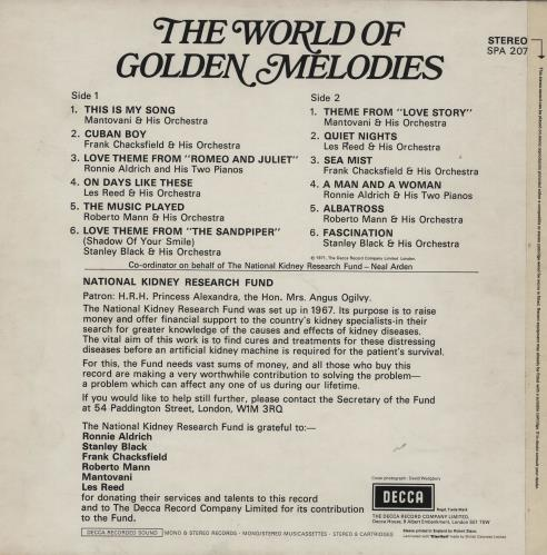 Various-Easy Listening The World Of Golden Melodies vinyl LP album (LP record) UK VLELPTH760701