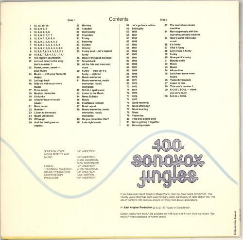 Various-Educational, Informational & Historical 100 Sonovox Jingles vinyl LP album (LP record) UK VBZLPSO710593