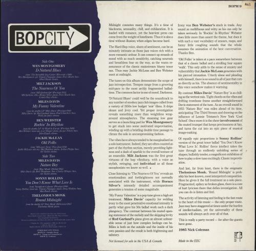 Various-Jazz Bopcity: Midnight vinyl LP album (LP record) UK V-JLPBO774065