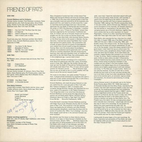 Various-Jazz Friends Of Fats vinyl LP album (LP record) UK V-JLPFR744951