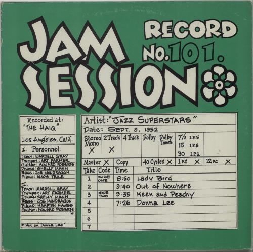 Various-Jazz Jam Session Record No. 101 vinyl LP album (LP record) US V-JLPJA675005