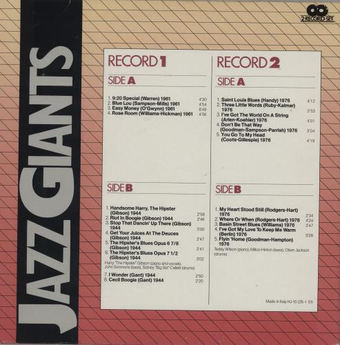 Various-Jazz Jazz Giants 2-LP vinyl record set (Double Album) Italian V-J2LJA761448