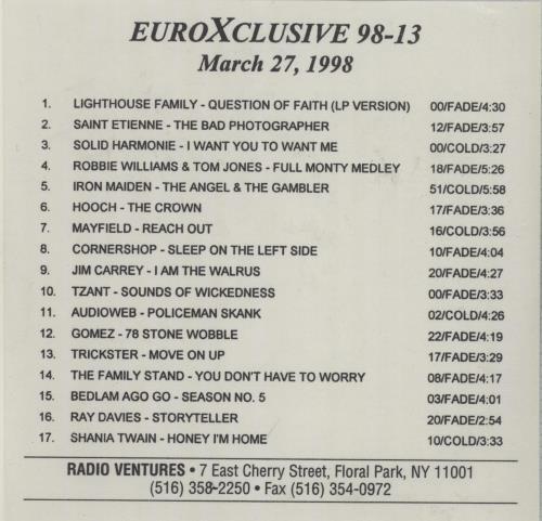Various-Pop EuroXclusive 98-13 CD album (CDLP) US 7VACDEU665045