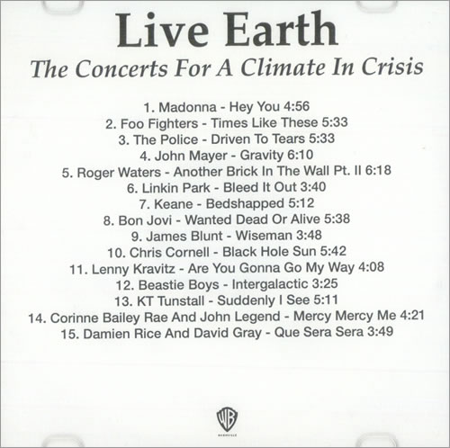 Various-Pop Live Earth - The Concerts For A Climate In Crisis CD-R acetate US 7VACRLI510045