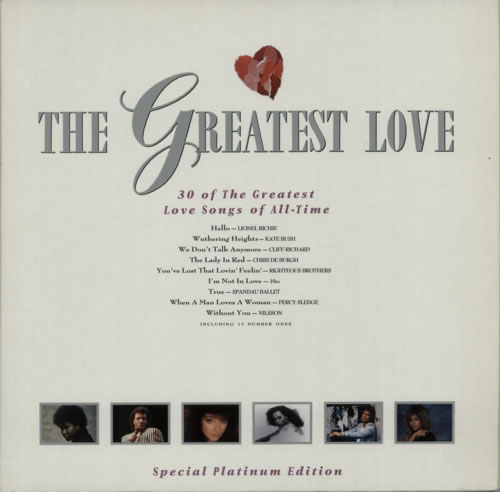 Various Pop The Greatest Love Uk 2 Lp Vinyl Record Set