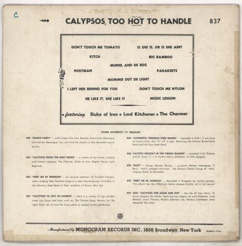 Various-Reggae & Ska Calypsos, Too Hot To Handle vinyl LP album (LP record) US V-ALPCA735740