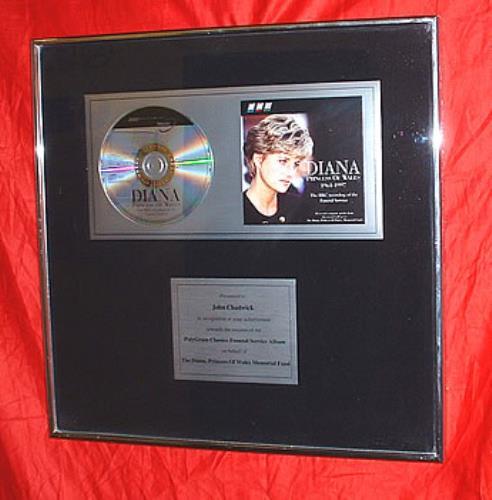 Various-Royalty Diana, Princess Of Wales Funeral Service Album award disc UK RFAAWDI319499