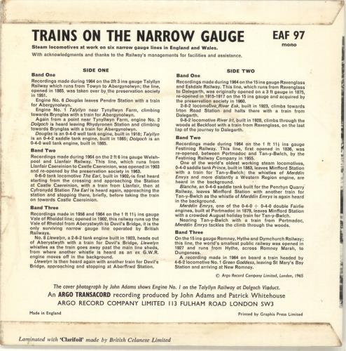 "Various-Trains Trains On The Narrow Gauge 7"" vinyl single (7 inch record) UK V-T07TR690208"