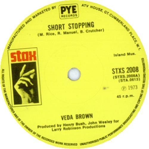 "Veda Brown Short Stopping 7"" vinyl single (7 inch record) UK VDB07SH414777"