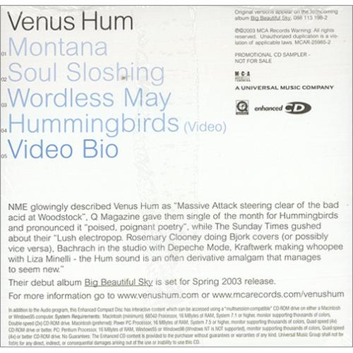 "Venus Hum Big Beautiful Sky - Album Sampler CD single (CD5 / 5"") US VHUC5BI414664"