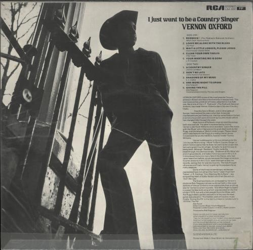 Vernon Oxford I Just Want To Be A Country Singer vinyl LP album (LP record) UK VEDLPIJ486724