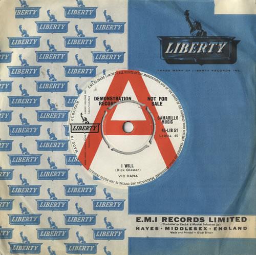 "Vic Dana I Will 7"" vinyl single (7 inch record) UK VDN07IW483500"
