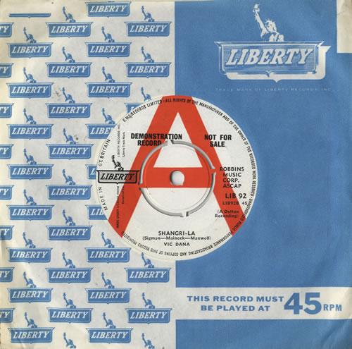 """Vic Dana Shangri-La 7"""" vinyl single (7 inch record) UK VDN07SH483499"""