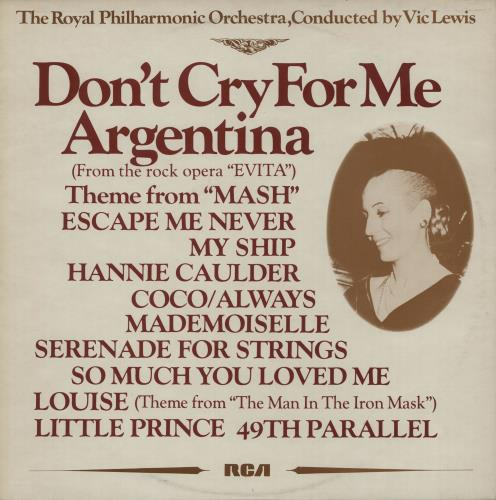 Vic Lewis Don't Cry For Me Argentina vinyl LP album (LP record) UK VB-LPDO649174