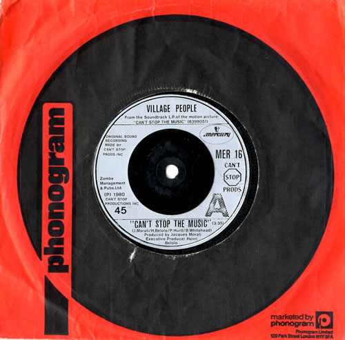 """Village People Can't Stop The Music 7"""" vinyl single (7 inch record) UK VIL07CA560335"""