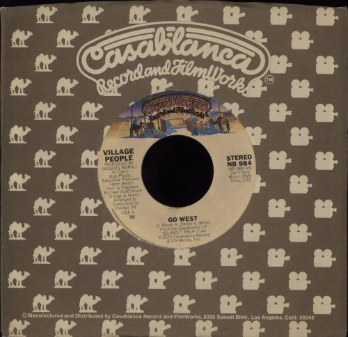 "Village People Go West 7"" vinyl single (7 inch record) US VIL07GO756072"