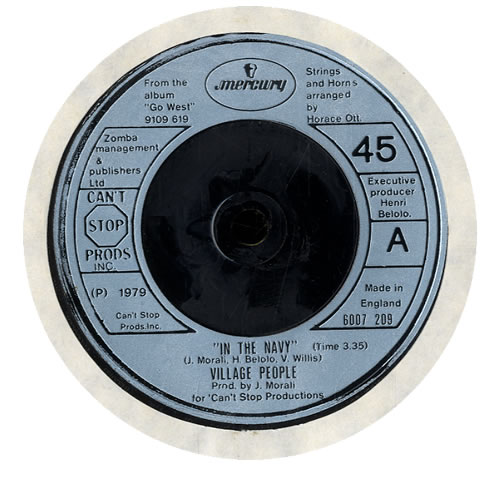 """Village People In The Navy 7"""" vinyl single (7 inch record) UK VIL07IN559358"""