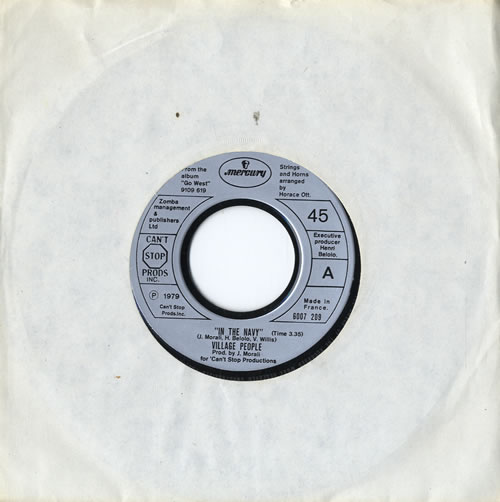 "Village People In The Navy 7"" vinyl single (7 inch record) French VIL07IN578400"