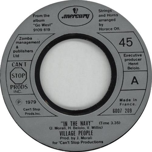 """Village People In The Navy 7"""" vinyl single (7 inch record) UK VIL07IN663932"""