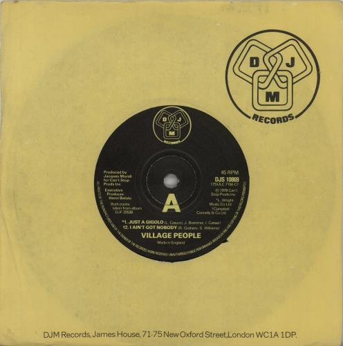 "Village People Just A Gigolo 7"" vinyl single (7 inch record) UK VIL07JU663876"