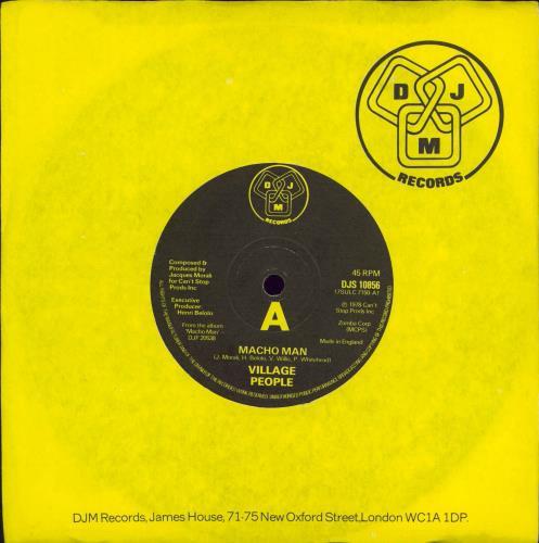 "Village People Macho Man 7"" vinyl single (7 inch record) UK VIL07MA685002"