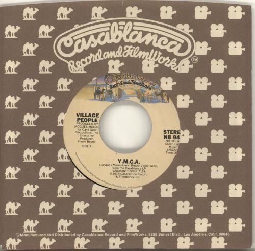 "Village People Y.M.C.A. - Wide 7"" vinyl single (7 inch record) US VIL07YM681332"