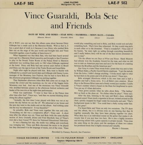 Vince Guaraldi Vince Guaraldi, Bola Sete And Friends - EX vinyl LP album (LP record) UK VGALPVI754452
